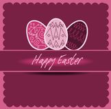 Happy Easter 2. Illustration of easter postcard with easter eggs Royalty Free Stock Image