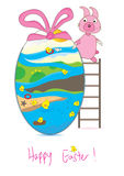 Happy Easter 2012_eps. Illustration of rabbit playing. Happy Easter Stock Image