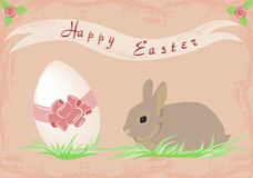 Happy Easter. Illustration of easter bunny and egg with grass and flowers Stock Photos