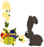 Happy Easter. Card - with bunny and eggs Stock Image