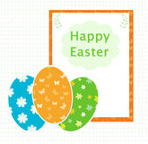 Happy Easter. Card for easter day with colorful eggs Royalty Free Stock Photography
