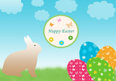 Happy Easter. Colorful card for easter day with bunny and eggs Stock Photos