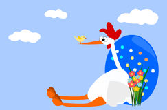 Happy Easter. Hen and blue easter egg Royalty Free Stock Photos