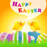 Happy Easter. With colorful easter eggs and chicken royalty free stock image