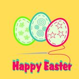 Happy Easter. Illustration of easter postcard with easter eggs Stock Photo