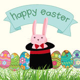 Happy easter. Bunny illustrator in  eps for inivite or card Royalty Free Stock Photography