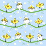 Happy easter. Background with cute chickens Stock Image