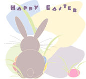 Happy Easter. Illustration of easter bunny with colorful egg Stock Image