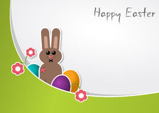 Happy Easter. Easter card with a bunny ang colorful eggs Royalty Free Stock Image