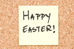 Happy Easter. Handwritten on a sticky note Stock Photo