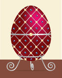 Happy Easter!. A red, silver detailed, cream and black pearl encrusted Easter egg on a stand in vector format Stock Photo
