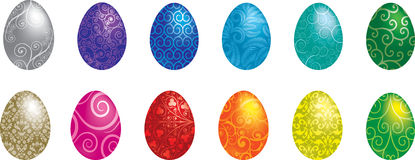 Happy Easter!. A set of 12 Filigree patterned vector Easter Eggs Stock Photography