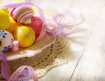 Happy Easter. Art Happy Easter eggs decoration stock photo