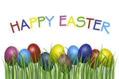 Happy Easter. With eggs in grass illustration Royalty Free Stock Photos