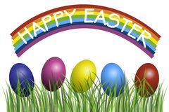 Happy Easter. With eggs in grass illustration Royalty Free Stock Photo