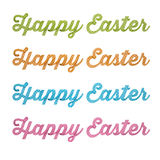 Happy Easter, 3D handwriting type on white background. Happy Easter fancy 3D lettering, decorative, modern, fresh sample, imaginative supplement Easter wishes Stock Photo