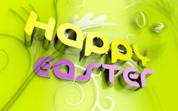 Happy Easter 3d text and florals Stock Photography
