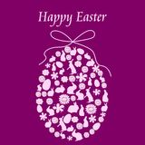 Happy Easter 4. Illustration of easter postcard with easter egg composed of easter elements Royalty Free Stock Images