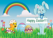 Happy Easter. Easter card in nature with bunny,eggs and chick Stock Photos