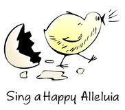 Happy Easter. Illustration for Happy Easter. Newborn chick singing song Stock Images
