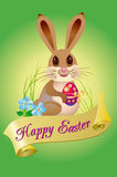 Happy easter. Easter card with  happy rabbit Stock Images