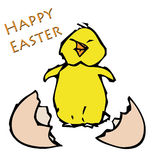 Happy Easter. A chick jumping right out of his cracked egg stock illustration