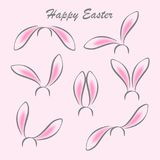 Happy easter abstract postcard background. Rabbit ears masks on white background. Vector illustration Royalty Free Stock Image