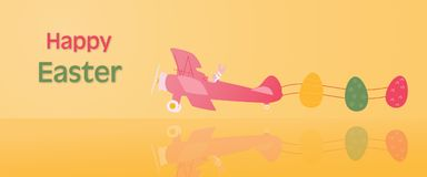 Happy Easter - Airplane. Rabbit in airplane with Easter eggs in trendy colors with text: Happy Easter royalty free illustration