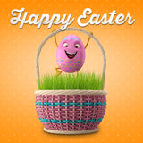 Happy Easter amazing 3D postcard, banner, background. Happy Easter eggs, merry 3D set, spring series, happy cartoon objects Stock Photo