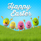 Happy Easter amazing 3D postcard, banner, background. Happy Easter eggs, merry 3D set, spring series, happy cartoon objects Royalty Free Stock Image