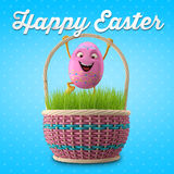 Happy Easter amazing 3D postcard, banner, background. Happy Easter eggs, merry 3D set, spring series, happy cartoon objects stock illustration