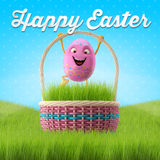 Happy Easter amazing 3D postcard, banner, background. Happy Easter eggs, merry 3D set, spring series, happy cartoon objects Royalty Free Stock Images