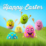 Happy Easter amazing 3D postcard, banner, background. Happy Easter eggs, merry 3D set, spring series, happy cartoon objects Stock Photography
