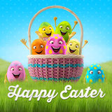 Happy Easter amazing 3D postcard, banner, background. Happy Easter eggs, merry 3D set, spring series, happy cartoon objects Stock Image