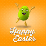 Happy Easter amazing 3D postcard, banner, background. Happy Easter eggs, merry 3D set, spring series, happy cartoon objects Stock Photos
