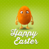 Happy Easter amazing 3D postcard, banner, background. Happy Easter eggs, merry 3D set, spring series, happy cartoon objects Royalty Free Stock Photos