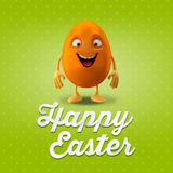 Happy Easter amazing 3D postcard, banner, background. Happy Easter eggs, merry 3D set, spring series, happy cartoon objects Royalty Free Stock Photography