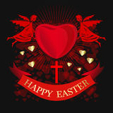 Happy Easter. Angels are holding big red heart. Greeting card for Easter Stock Images