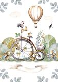 Happy Easter animals bunny and vintage bike with full basket of flowers. Hand painting isolated watercolor Easter illustration