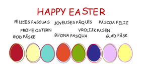 Happy Easter - animated hand drawn easter eggs - sequence, alpha channel included stock footage