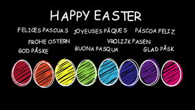 Happy Easter - animated hand drawn easter eggs - sequence stock video footage