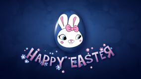 Happy Easter animation title trailer 30 FPS bubbles dark blue