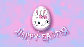 Happy Easter animation title trailer 50 FPS bubbles pink babyblue stock illustration