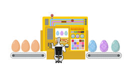 Happy Easter. Apparatus for production of Easter eggs. Chicken e Royalty Free Stock Photo