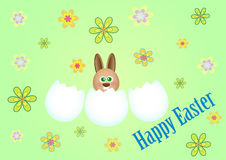 Happy Easter background. Happy easter with rabbit on green background Royalty Free Stock Photography