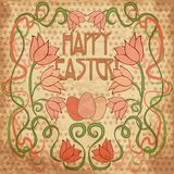 Happy Easter background in art nouveau style Royalty Free Stock Images