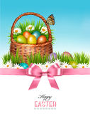 Happy Easter background. Basket with eggs and a butterfly Stock Photography