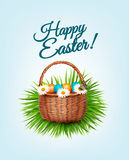 Happy Easter background. Basket with eggs Stock Photos