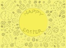 Happy Easter background with black eggs on a light yellow fone. Decorative frame. Easter greeting card vector illustration