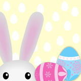 Happy Easter background with bunny and eggs. Vector Stock Photos